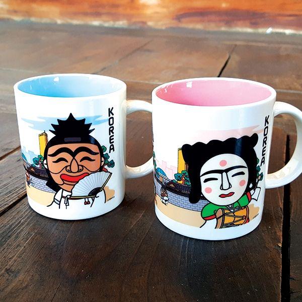 ::Korea Souvenir:: Hahoetal Mug Cup (Yangban / Gakssi) 하회탈 머그컵