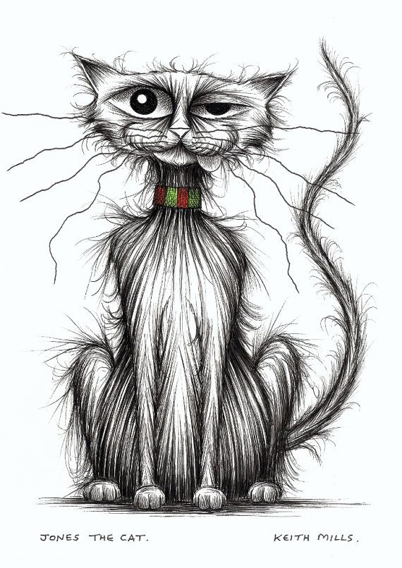 Jones the cat Funky kitty looking posh Hand drawn by Keith Mills