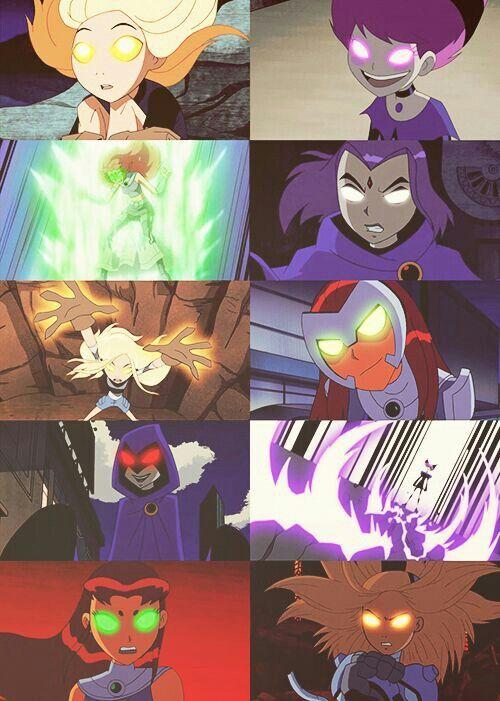 Raven, Starfire, Terra and Jinx