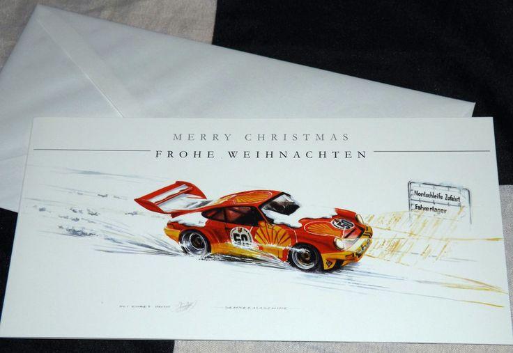 PORSCHE 911 CARRERA RS RSR NURBURGRING 24 H CHRISTMAS NOEL GREETINGS GIFT CARD #ChristopherDugan #Christmas