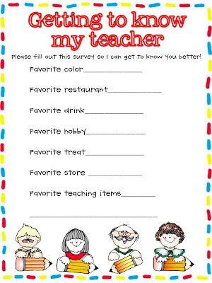 Back to School Getting to Know You Teacher Questionnaires - free printables