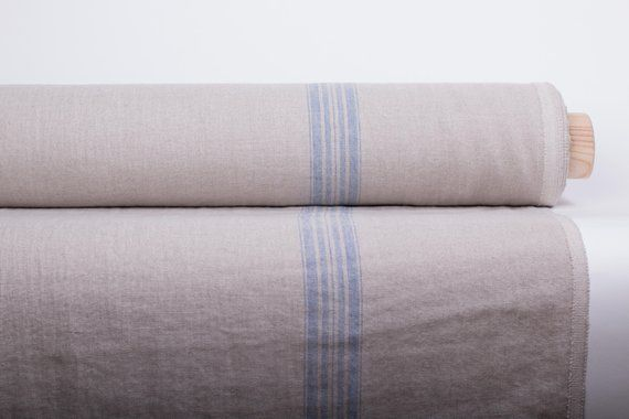 Pure 100 Linen Fabric 380gsm Washed Linen Fabric In Blue Stripes Organic Softened Rustic Heavyweight Fabric French Linen Fabric Rustic Linen Rustic Fabric Linen Fabric