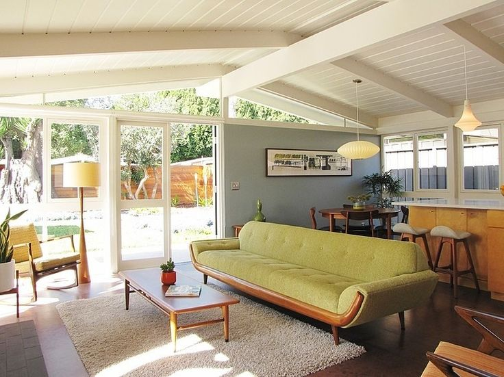 my houzz a mid century marvel revived in long beach midcentury living room orange county tara bussema neat organization and design - Beach House Design 1950s