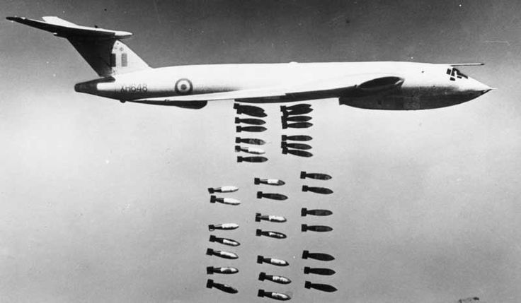 Handley Page Victor dropping iron bombs. Probably the nearest it came to it's original task as a nuclear bomber.
