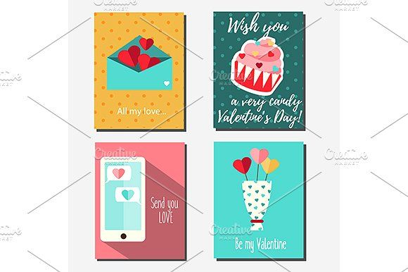 Valentine's Day Cards. eps+jpg by KSU's Little Shop on @creativemarket