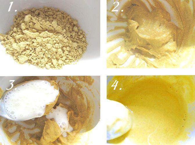 Для маски нам потребуется:   - горчичный порошок,   - вода и жирный кефир (количество на средние волосы)   Одну столовую ложку без горки сухого порошка горчицы залить горячей водой (40-50 градусов - не больше) в количестве 3 столовых ложек и хорошо размешать, Должна получиться густая паста. Не разводите горчицу слишком жидко. Добавляем к горчичной пасте 3-4 столовые ложки жирного кефира.