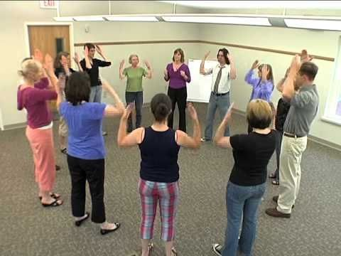 Energizers! - Dum Dum Dah Dah...re-energize the class while quieting the students. Good re-focusing exercise.