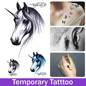 Водонепроницаемый поддельные татуировки наклейки мужчины и женщины Harajuku единорог шаблон временные татуировки наклейки поддельные Tattooings единороги