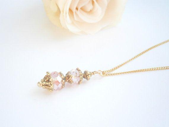 Light Pink Necklace  Pink Wedding Jewelry  by GlamorousSparkle, €15.00