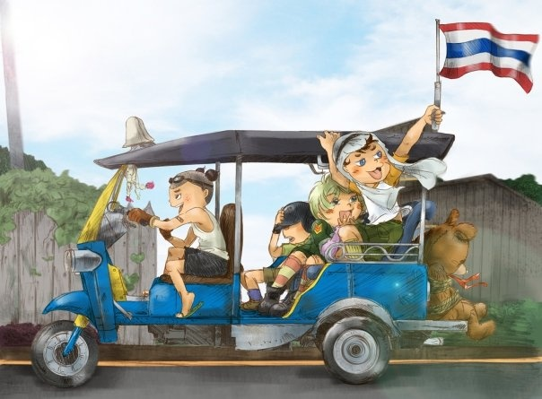 he kids riding on a tuktuk / Illustration by Oak S © 2009