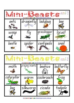 From Clever Classroom on TpT. Insects and Mini Beasts Bingo Games - PDF file4 page, printable game.Themed, literacy game for young learners.6 game cards and 1 call c...