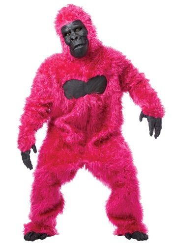 Look like you're straight out of a neon jungle in this Pink Gorilla Suit. You'll be quite the party animal in this colorful costume.