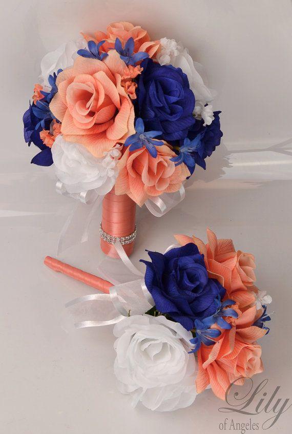 17 Piece Package Wedding Bouquet Bride Silk by LilyOfAngeles