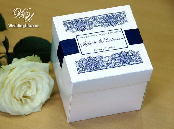 Wedding Gift Boxes With Satin Ribbon And Tag Custom Personalized Favor Box With Navy Blue Satin Ribbon Weddings Favors With Your Names