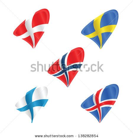 Official flags of the scandinavian countries, Denmark, Sweden, Norway, Iceland and Finland - stock vector