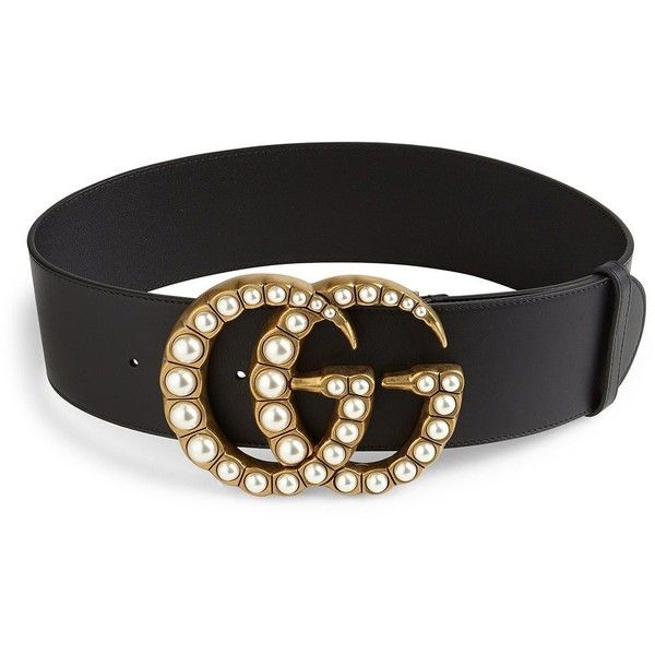 Gucci Women's Pearly GG Buckle Wide Leather Belt ($1,100) ❤ liked on Polyvore featuring accessories, belts, apparel & accessories, gucci belt, adjustable leather belt, genuine leather belt, gucci and wide belts