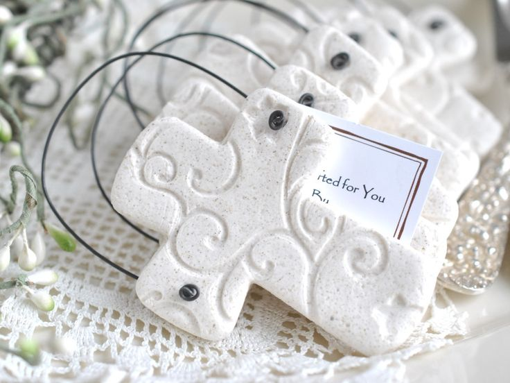 Imprinted Salt Dough Cross Ornament Wholesale Baptism / Wedding Favors Set of 10