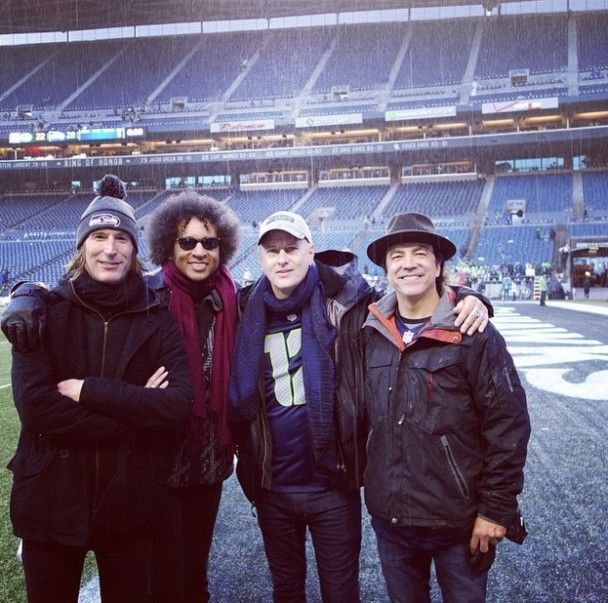 Alice In Chains before performing at halftime in Seattle for the NFC Championship game.