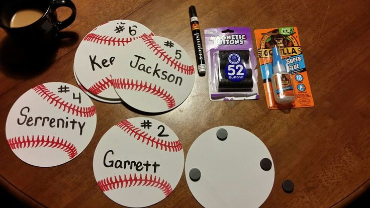 Baseballs to decorate truck for 2014 Opening Day Parade. Everything bought at Walmart, foam baseballs, paint pen, magnet buttons,  & glue