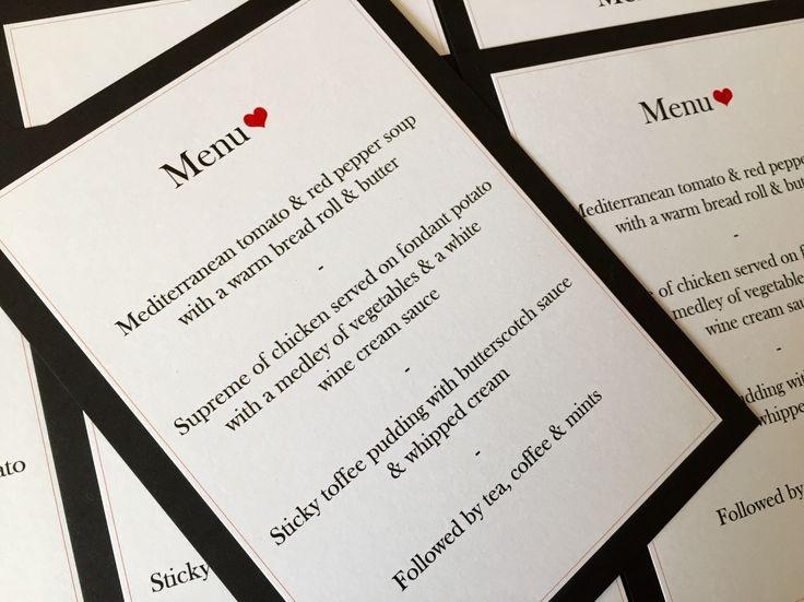 Plain & Simple Black, White & Red Heart Wedding Breakfast Menus