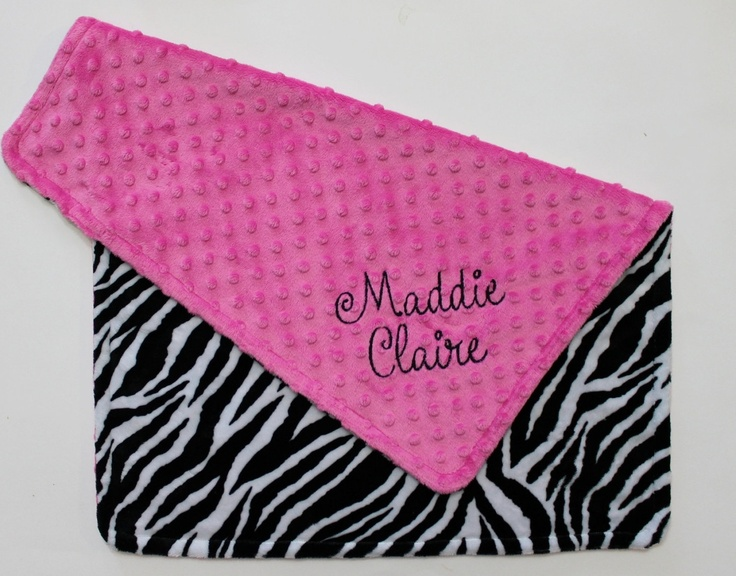 PERSONALIZED DOUBLE MINKY Baby Girl Stroller Blanket in Zebra and Hot Pink.