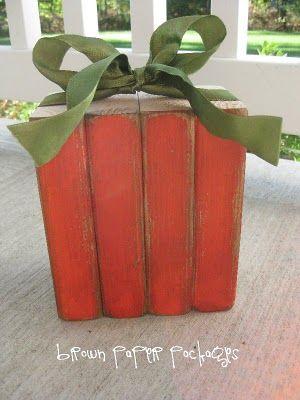 DIY 2x4 Pumpkin...: 2X4 Wood, Wood Block, Wood Projects, Brown Paper Packages, Wooden Pumpkin, Cute Ideas, Pumpkin Decor, Wood Pumpkins, Brown Paper Packaging