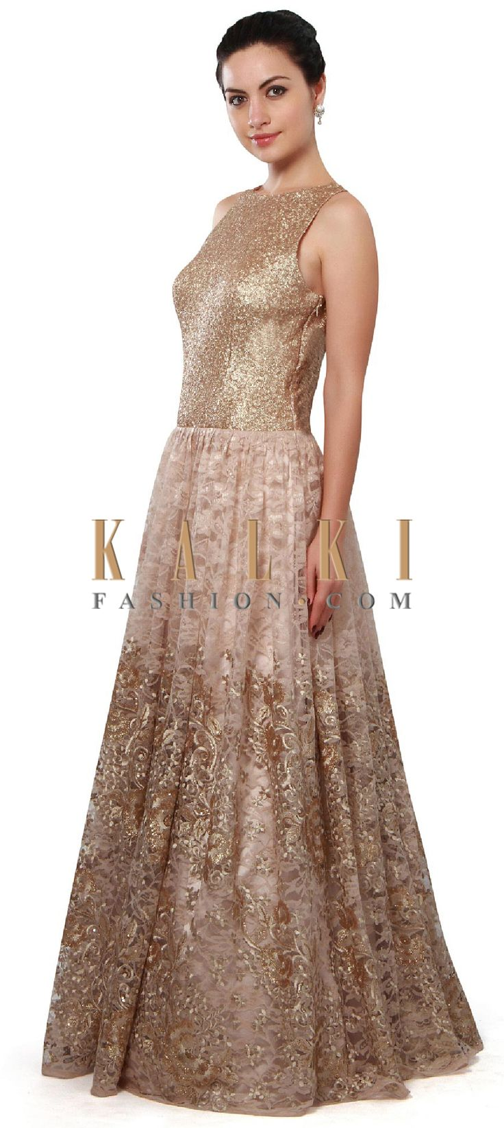 Buy Online from the link below. We ship worldwide (Free Shipping over US$100). Product SKU - 311069. Product Price - $419.00. Product link - http://www.kalkifashion.com/beige-gown-adorn-in-sequin-and-resham-embroidery-only-on-kalki.html
