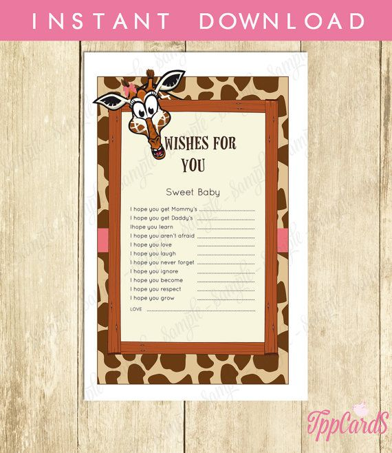 Instant Download Pink Giraffe Wishes for Baby Girl Brown Pink Giraffe Baby Shower Games Printable Giraffe Theme Wish for Baby Game by TppCardS #tppcards