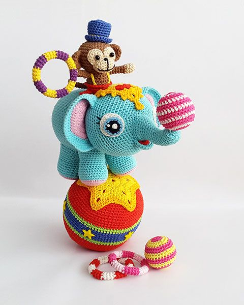 Lola, the little elephant with her friend Timi, the agile monkey | Amigurumi design contest | by Lia Arjono