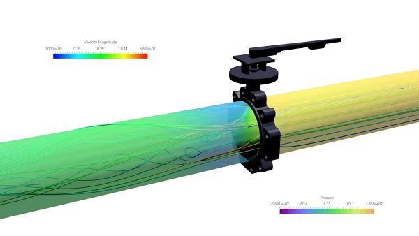 Butterfly valve simulation with ANSYS CFX. Free download CFX simulation files here http://fetchcfd.com/view-project/634  #CFD #ANSYS #CFX #fluidmechanics #Engineering #butterflyValve #simulation #fluiddynamics #flow #flowsimulation #valves #LuggedButterflyValve #computationalFluidDynamics #FetchCFD