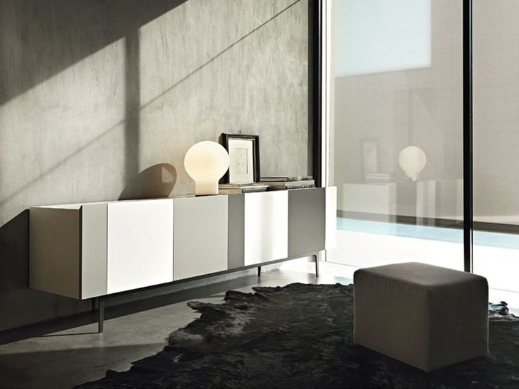 Lacquered wooden sideboard with doors RAINBOW by Lema | design Roberto Lazzeroni