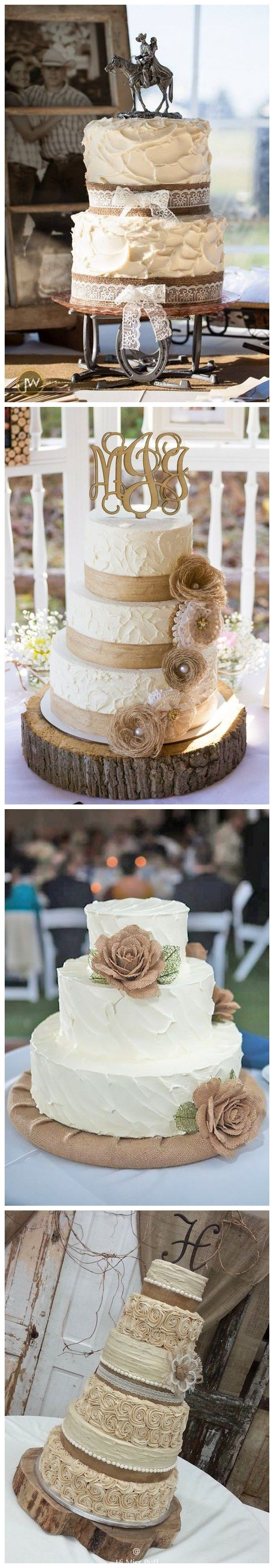 Rustic country burlap and lace wedding cakes / http://www.himisspuff.com/rustic-country-burlap-wedding-ideas/