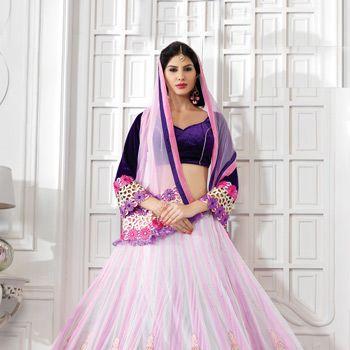 Off White And Light Pink Net Lehenga Choli With Dupatta