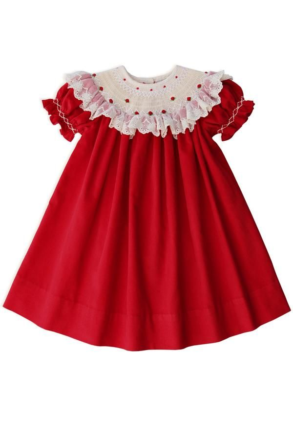 55883425f Children and Young. Hand Smocked Christmas Red Bishop Dress with Lace