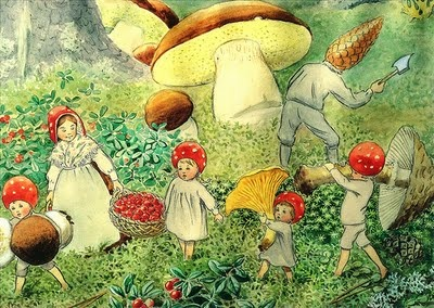 Swedish artist and author Elsa Beskow's Children of the Forest. Love her books and paintings.