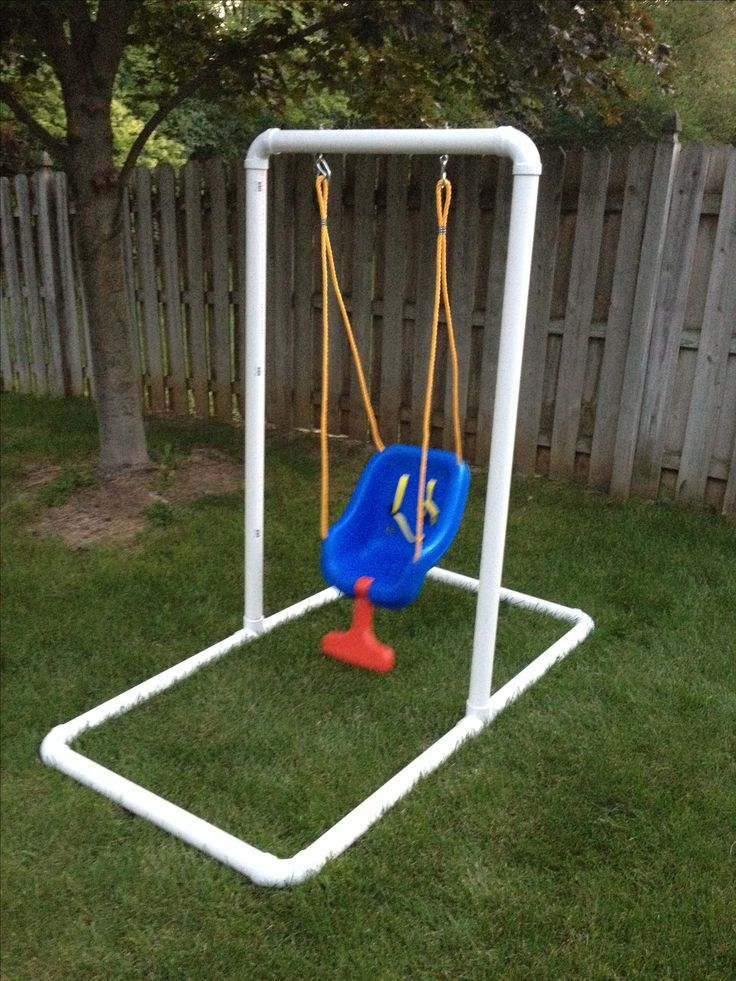 "Homemade Infant Swing Stand (+/- $65.00) Do you not have mature trees in your backyard and not want to purchase a huge set? Build you own in about and hour. What you'll need: 6 - 5'L PVC pipe (2"") (Cut 4 in half) 6 - 90 deg. PVC Connectors 2 - T - PVC Connectors (for uprights) 2 - 2"" Stainless steel eye hooks with bolts (1/4"" dia.) 4 - 1/4"" stainless steel washers 1 - Infant swing of your choice. I'm no engineer, so please leave comments on making this a stronger/better stand."