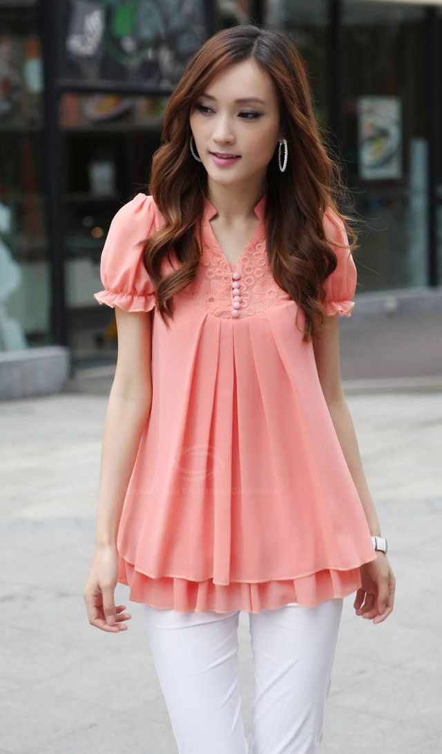 Stand Collar Short Sleeves Lace Splicing Solid Color Sweet Style Chiffon Women's Blouse, RED, 2XL in Blouses | DressLily.com
