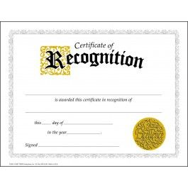 30 Certificates of Recognition Awards (Large) Certificate pack - Sticker Stocker