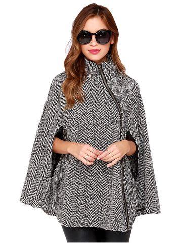 Stand Collar Slant Zipper Cloak Coat & Jackets / Coats - at Jollychic