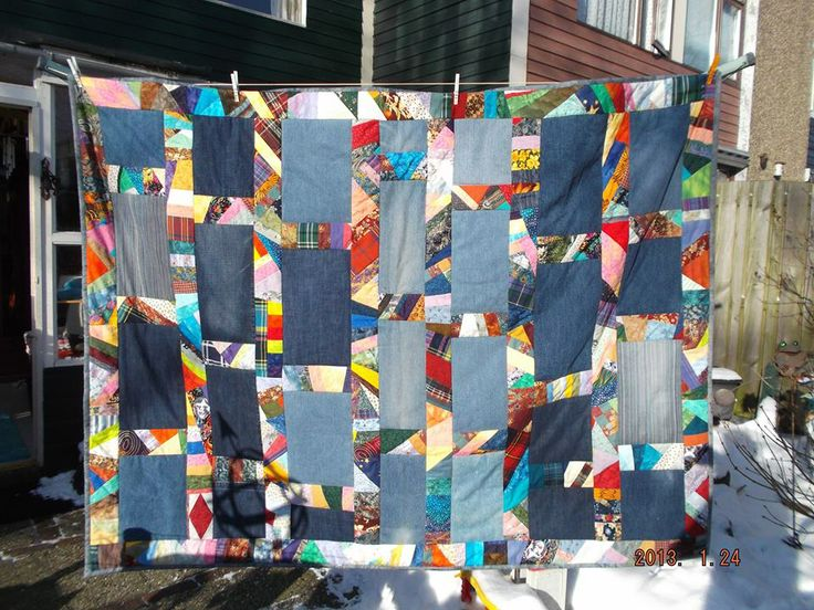 Old jeans and crazy quilt strips