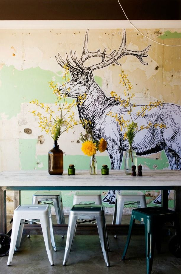 Best 20 vintage stool ideas on pinterest vintage metal for Deer wallpaper mural