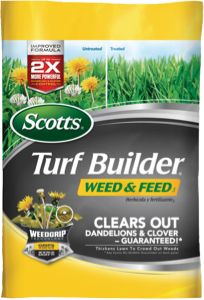 Scotts Turf Builder Weed and Feed is from the Scotts Feed & Control Weeds Lawn Fertilizer product line. This lawn fertilizer helps kill dandeli...