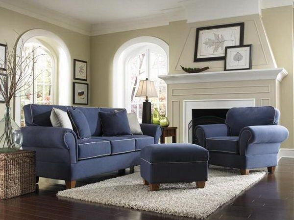 blue living room furniture sets | Full Set In Pretty Denim Blue ...