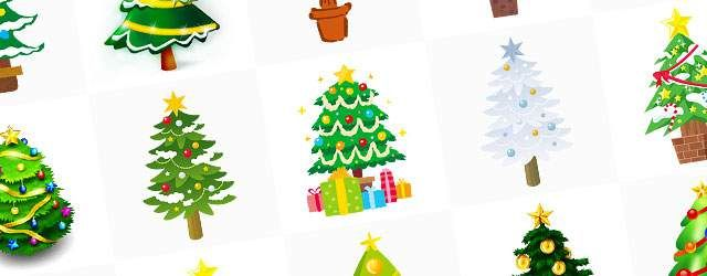 無料イラスト素材:クリスマスツリーの可愛い画像まとめ(星飾り・オーナメント)