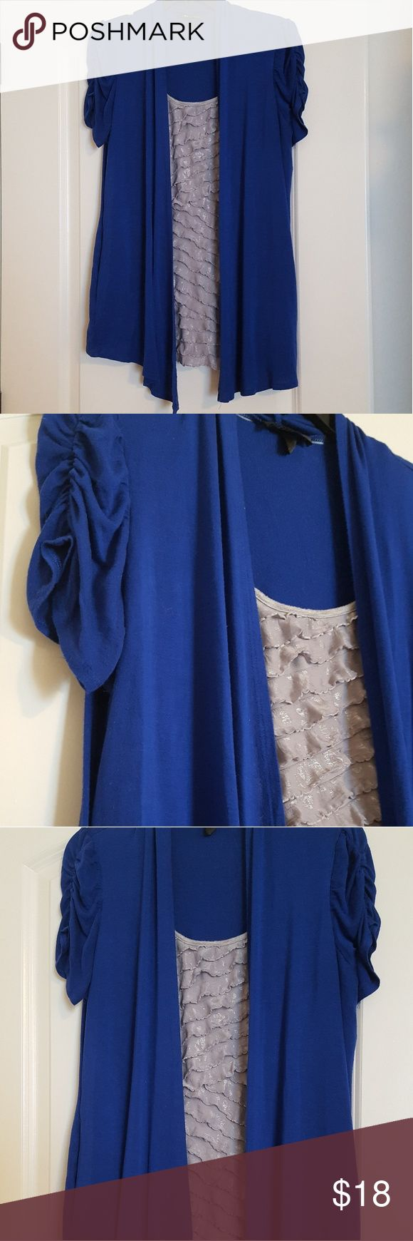 One piece blue and silver blouse ruched sleeves One piece AB Studio blue and silver blouse with ruched sleeves AB Studio Tops