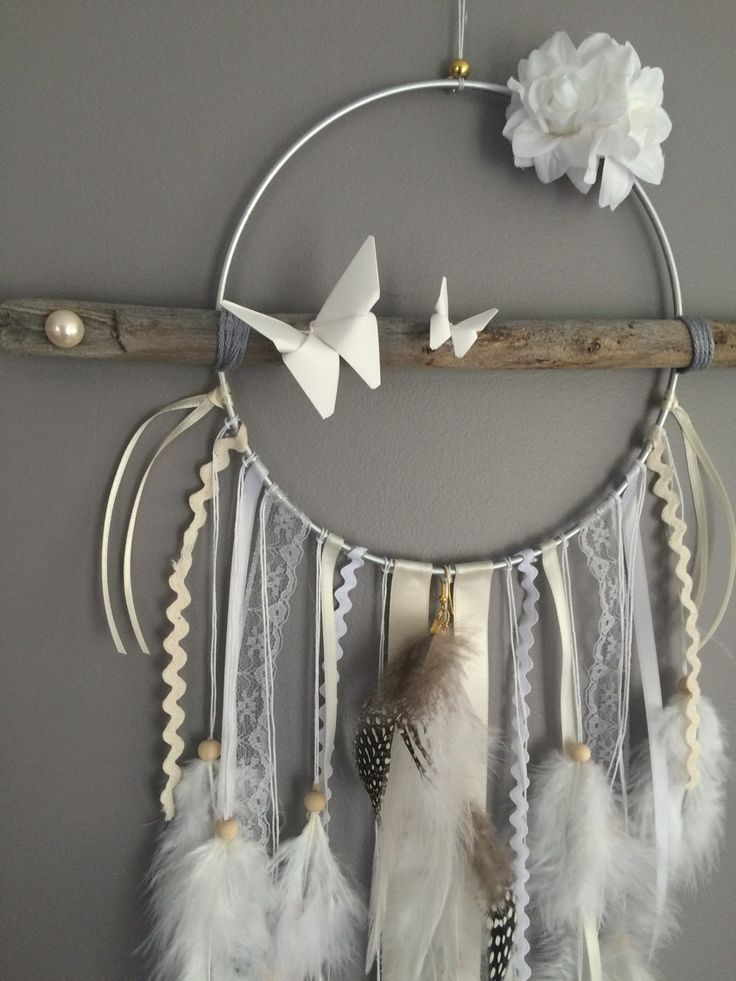 Attrape rêves / dreamcatcher / attrapeur de rêves en bois flotté, origami, plumes et perles bois