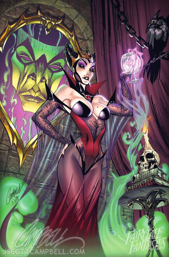 Snow white witch: Sleep Beautiful, Mirror Mirror, J Scott Campbell, L'Wren Scott, Disney Princesses, Evil Queen, Disney Character, Fairies Tales, Snow White