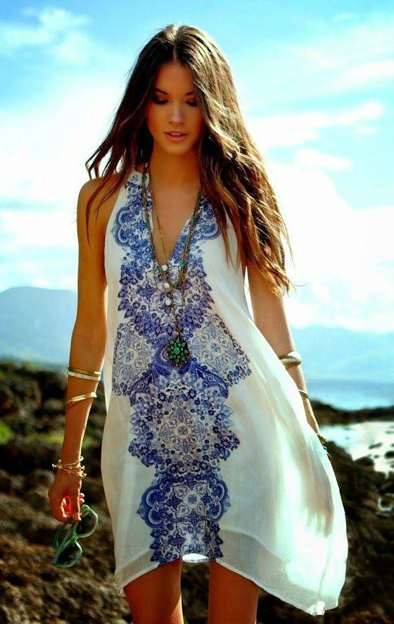 V-Neck Light Weight Printed Dress