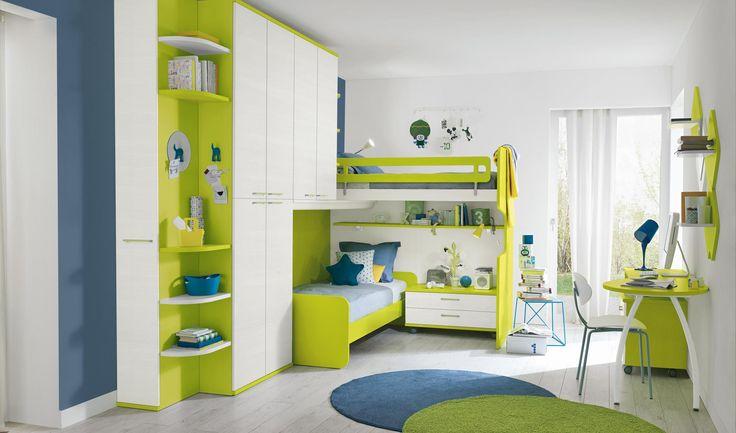 мебель для детских двухъярусные кровати Bunk зеленый Lineare3
