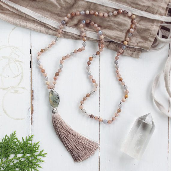 Peach Moonstone Hand-knotted Mala Beads Moonstone and